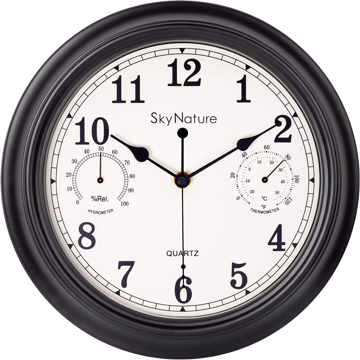 Indoor/Outdoor Wall Clock, 12 Inch Retro Decor Clock with Thermometer & Hygrometer Combo, Silent Non-Ticking Battery Operated Metal Clock for Home, Living Room, Kitchen, Garden, Den. Matt black