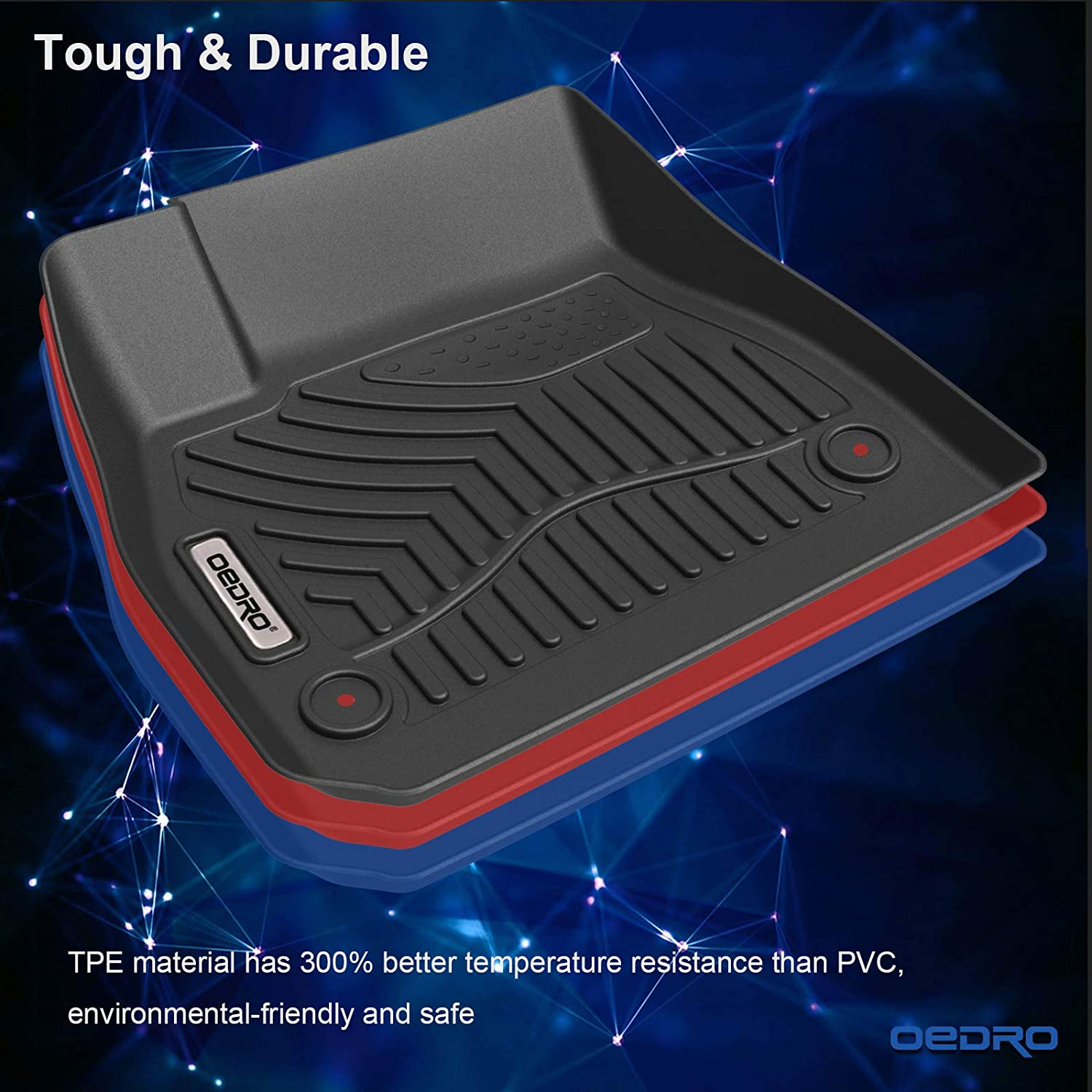Rear Unique Black TPE All-Weather Guard Includes 1st and 2nd Row: Front Full Set Liners oEdRo Floor Mats Compatible for 2015-2019 Jeep Cherokee Not for Grand Cherokee