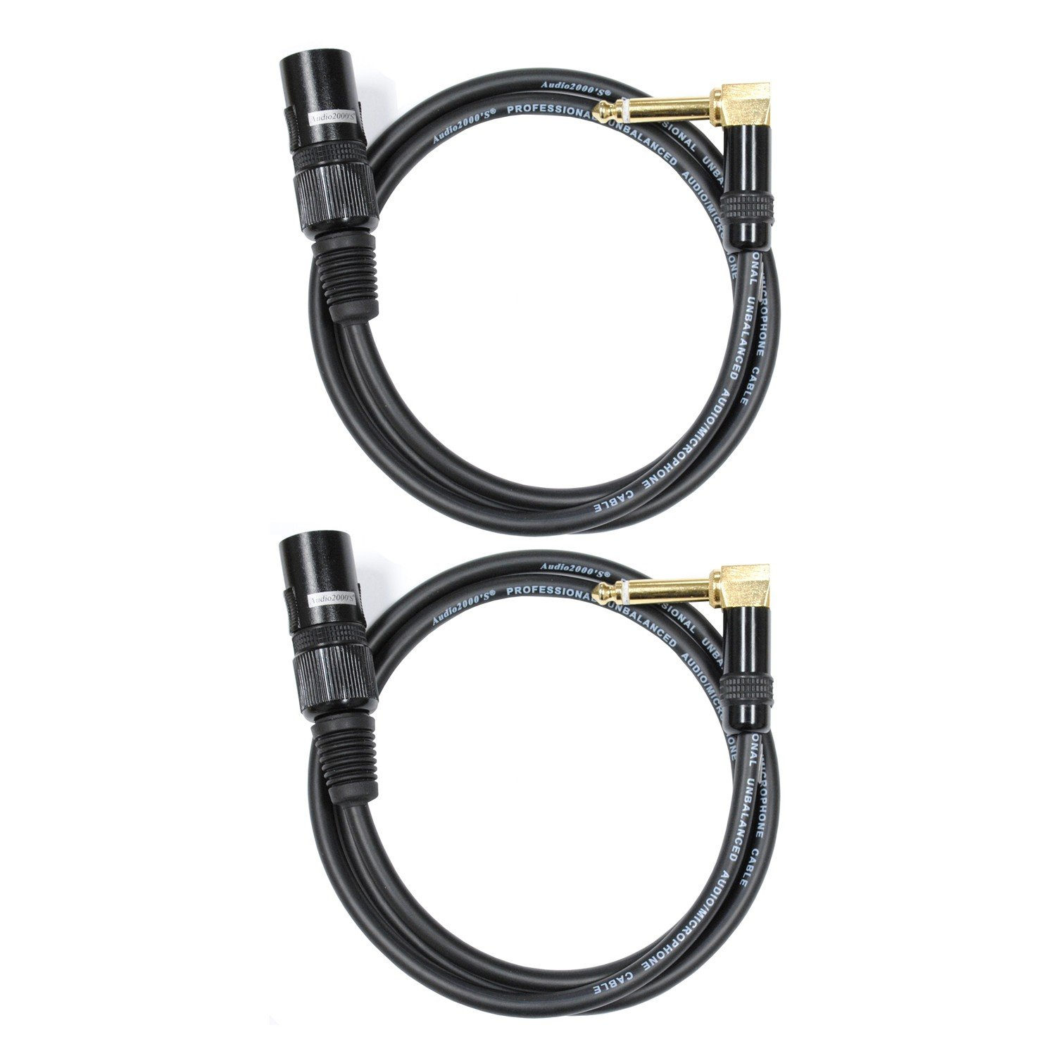 Audio2000's C17003P2 3 Ft 1/4 TS Right Angle to XLR Male Cable (2 Pack) C-17003P2