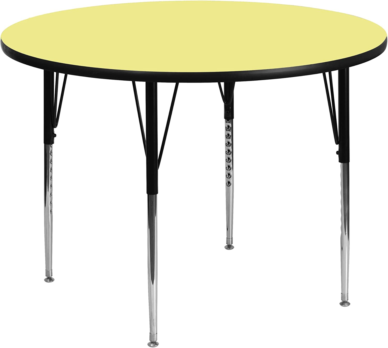 Flash Furniture 42'' Round Yellow Thermal Laminate Activity Table - Standard Height Adjustable Legs