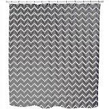 Art Deco Chevron Shower Curtain: Large Waterproof Luxurious Bathroom Design Woven Fabric
