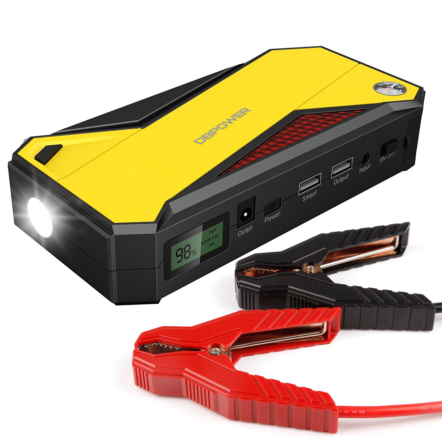 DBPOWER 600A Peak 18000mAh Portable Car Jump Starter (up to 6.5L Gas, 5.2L Diesel Engine) Battery Booster and Phone Charger with Smart Charging Port (Black/Yellow) 4336330542