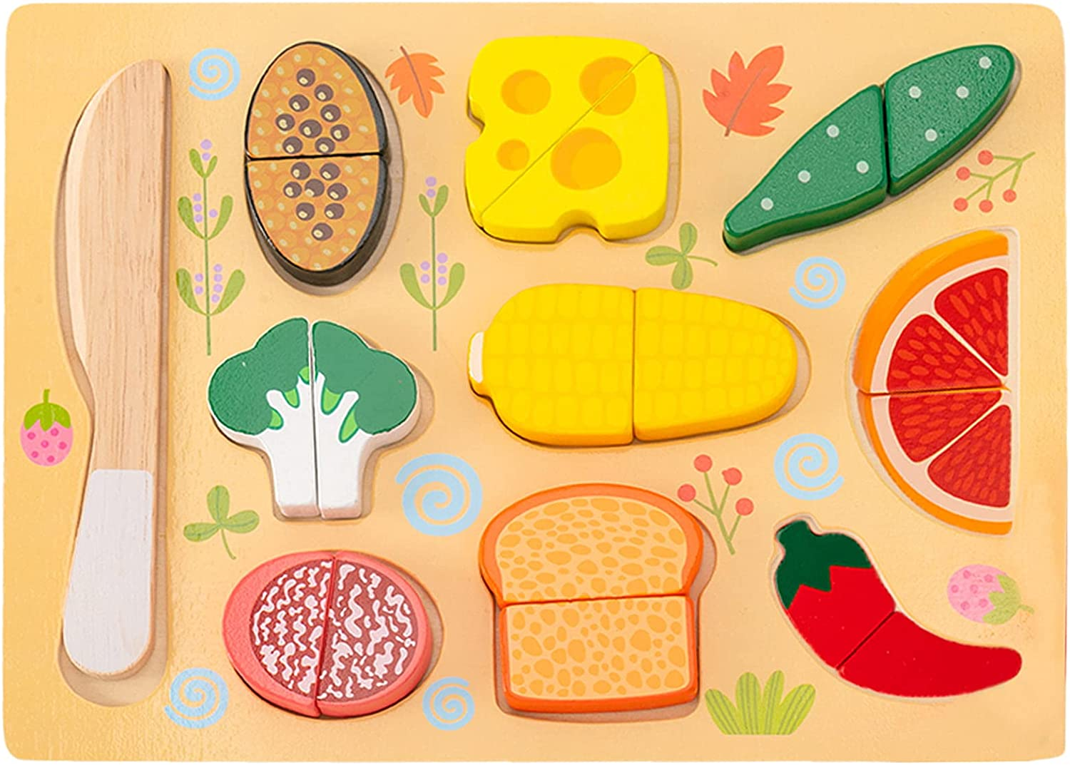 CUCOS Wooden Cutting Puzzles for Kids Ages 1-5 Years Old, Food Toddler Puzzles, Learning Toys Educational Gift for Girls and Boys