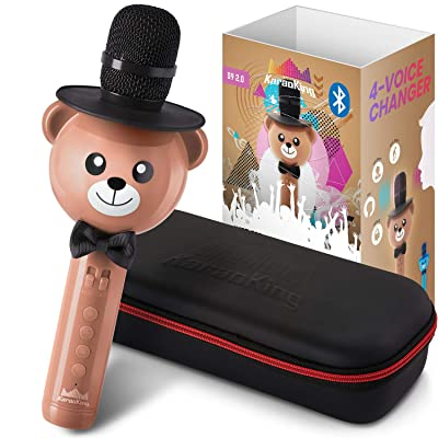 KaraoKing Karaoke Microphone for Kids - Wireless, Bluetooth Karaoke Machine for Toddlers & Kids in Comic Bear Shape - Includes Mic with Speaker, Perfect for Rock n' Roll Parties (S9 Light Brown): Toys & Games