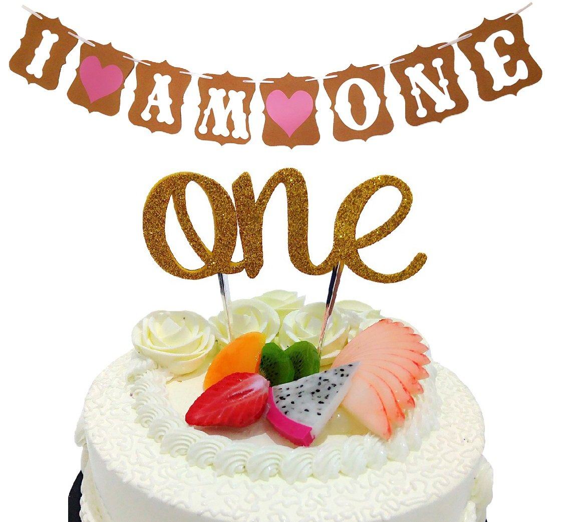 """Sweet Heart First Birthday Cake Topper -""""One""""- Decoration & First Birthday-""""I Am One""""- Banner For Baby Girl"""