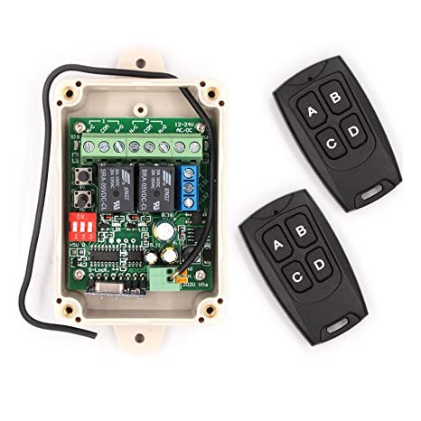 Solidremote 12V - 24V Secure Wireless RF Remote Control Relay Switch  Universal 2-Channel 433MHz Receiver with 2 FCC ID Transmitters for Garage  Door