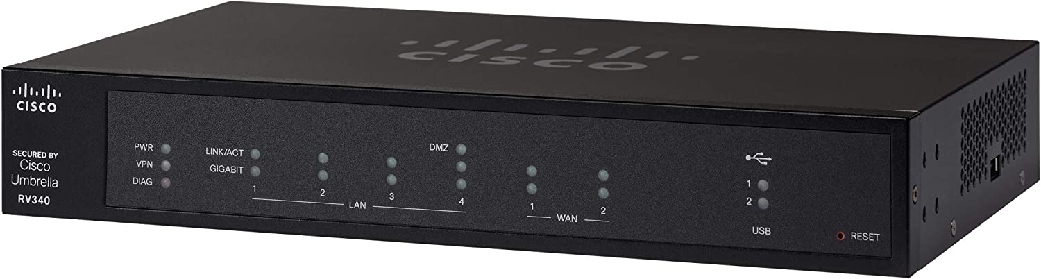 Cisco RV340 VPN Router with 4 Gigabit Ethernet (GbE) Ports plus Dual WAN, Limited Lifetime Protection (RV340-K9-NA),Black