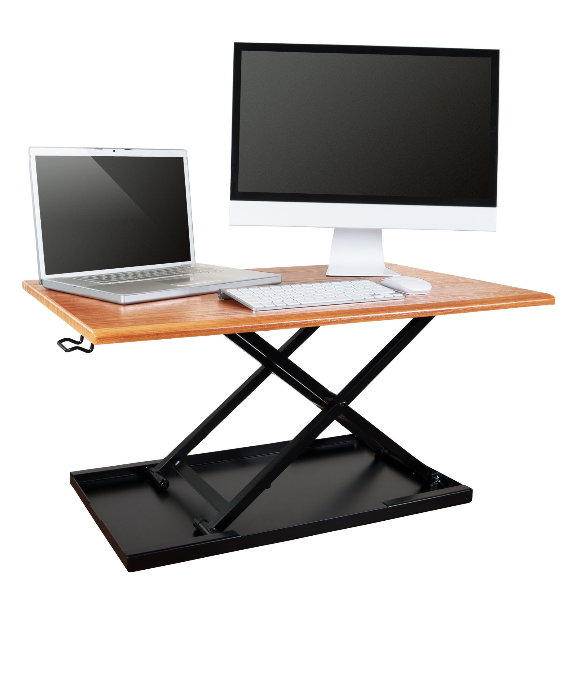 AirRise – Standing Desk Converter | Adjustable Height Pneumatic Stand Up Desk – Sit to Stand with Your Current Desk in Seconds (32'' Wide, Teak Wood Finish) by Stand Up Desk Store