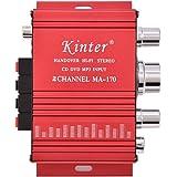 Zerone Mini Amplificador de Potencia de Audio estéreo bajo estéreo de 12V 2 Canales 20W + 20W de Amplificador de Interior/Exterior Digital de Digitaces para vehículo