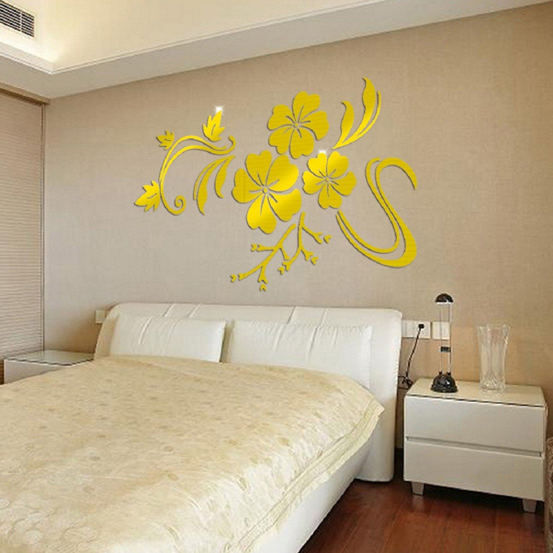 Ikevan 1Set Acrylic Art 3D Mirror Flower Wall Stickers DIY Home Wall ...