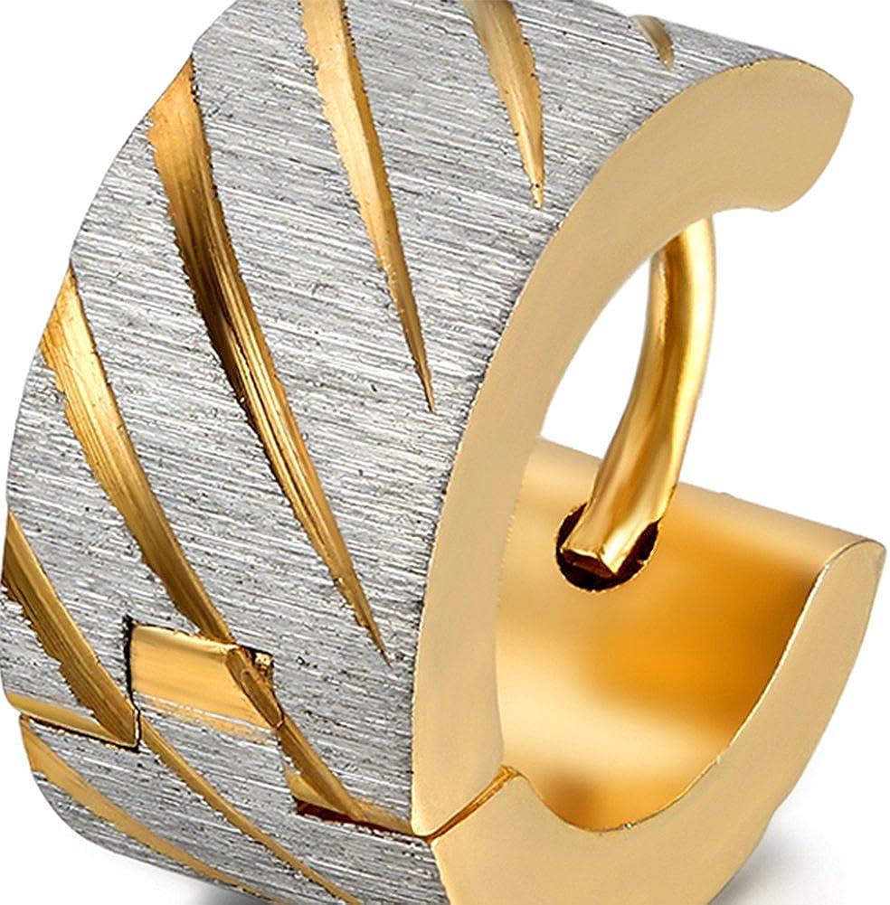 Gl/änzend gro/ße Breite Creolen Ohrstecker Ohrschmuck Gold Silber Herren Damen Ohrringe Oidea 2 Paare Edelstahl 4PCS