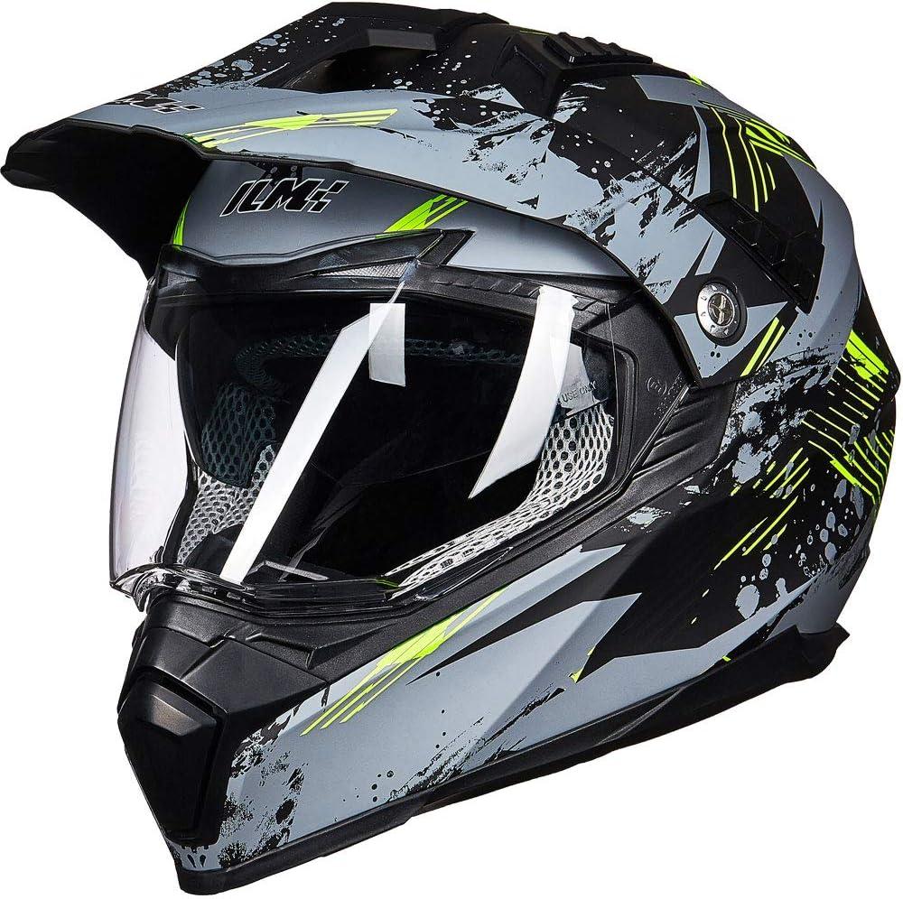 XXL, Matte Black ILM Off Road Motorcycle Dual Sport Helmet Full Face Sun Visor Dirt Bike ATV Motocross DOT Approved