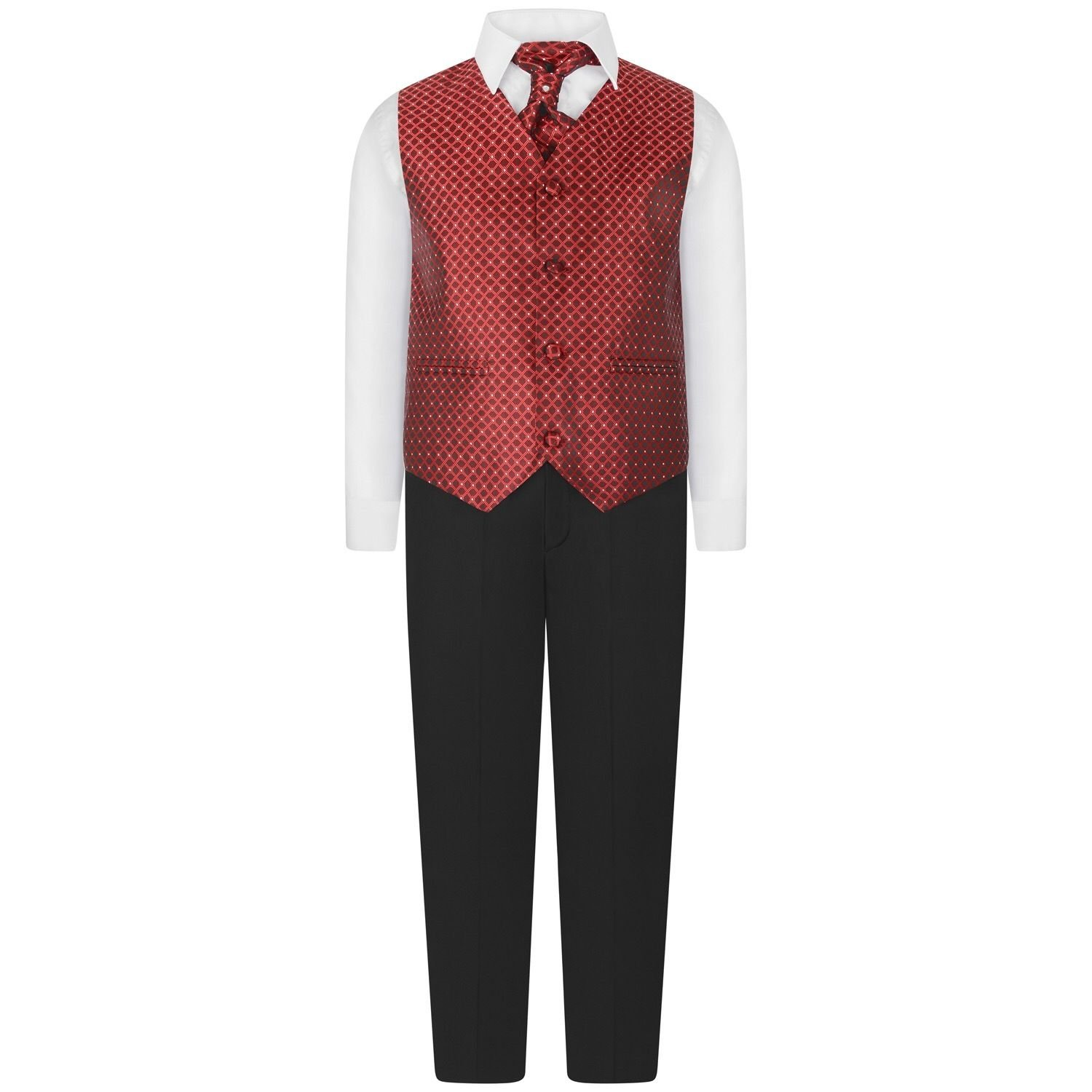 Boys 4 Peice Wine Waiscoat Suit Set Smart Suit Cravat Tie Ages 6 Months up to 10 Years
