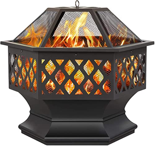 YAHEETECH 24in Outdoor Metal Fire Pit with Poker and Spark Screen Cover, Multifunctional Portable Firepit Fireplace Stove Wood Burning for Camping Picnic Bonfire Patio Backyard Garden Beaches Park