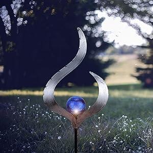 Outdoor Solar Light Garden for Walkway Flame Crackle Glass Globe Stake Metal Light Blue