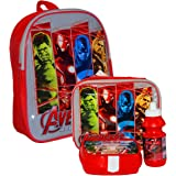 MARVEL® Avenger Official Kids Children School Travel Rucksack Backpack Bag, Lunchbag Lunch Bag Case with Sandwich Box and Drinking Bottle Set for Kids Children - Thor, Hulk, Iron Man, Captain America