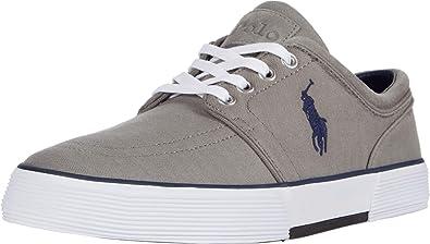 Polo Ralph Lauren Faxon - Zapatillas de piel para hombre, Gris (Gris (Grey Herringbone)), 50 EU: Amazon.es: Zapatos y complementos