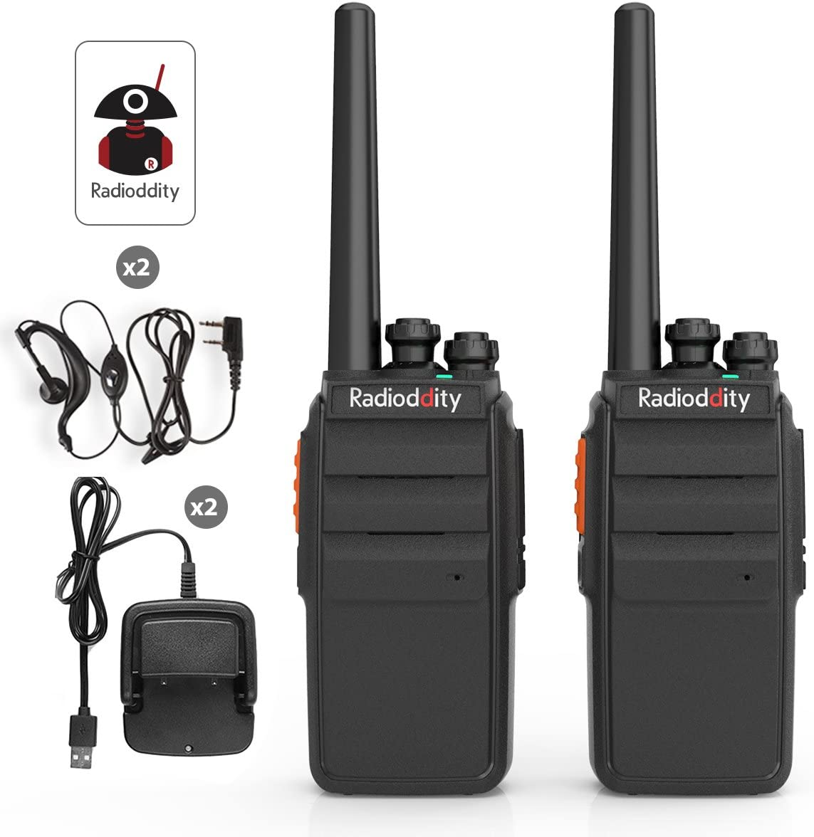 Radioddity R2 Long Range Walkie Talkie UHF Two Way Radio Rechargeable Scrambler Perfect for Survival Camping Hunting with USB Desktop Charger Earpiece 2 Pack
