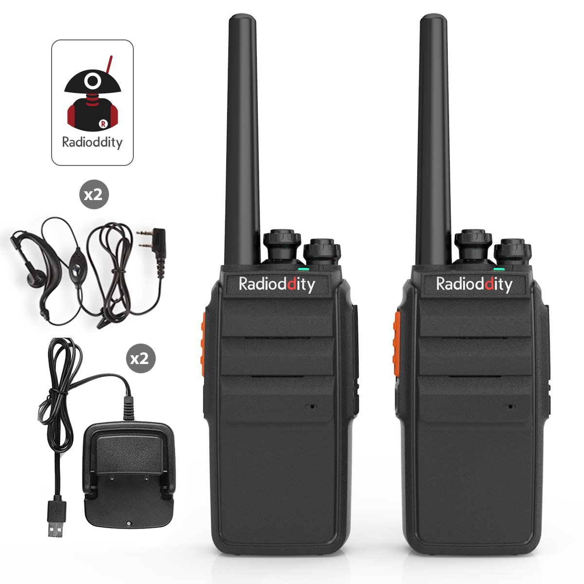 Radioddity R2 Advanced UHF Two Way Radio 400-470MHz 16 CH Scrambler VOX Rechargeable Long Range Survival Walkie Talkie with USB Desktop Charger + Earpiece (2 Pack)