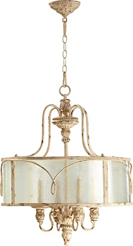 Quorum 8006-4-70 Traditional Four Light Pendant from Salento Collection Finish, Persian White