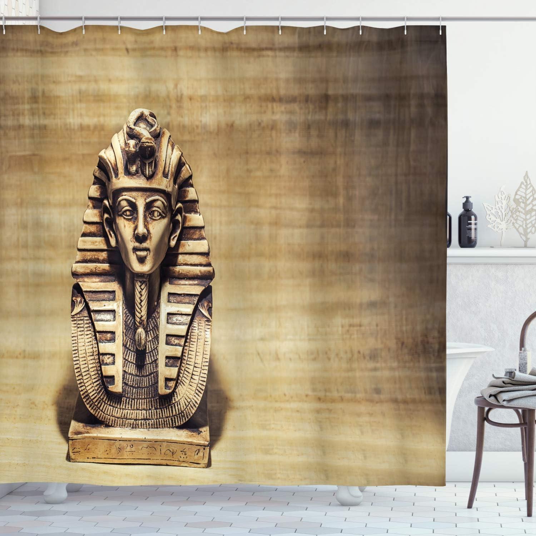 ASDAH 48X72inch Cortina de Ducha egipcia Piedra Faraón Tutankamón Máscara con diseño de Fondo de papiro Tela de Tela Decoración de baño con Ganchos pálidos