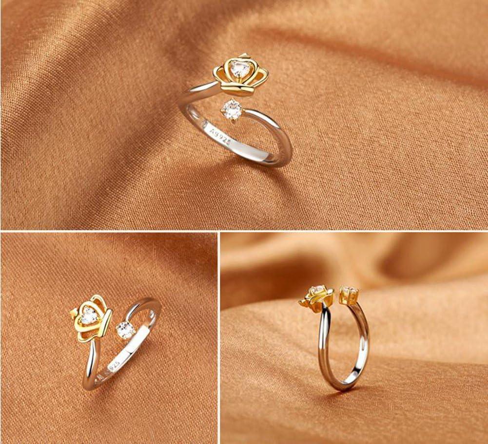 BIGBOBA elegante anillo de las mujeres creativo elegante corona ajustable apertura anillo de cristal diamante joya de la boda accesorios