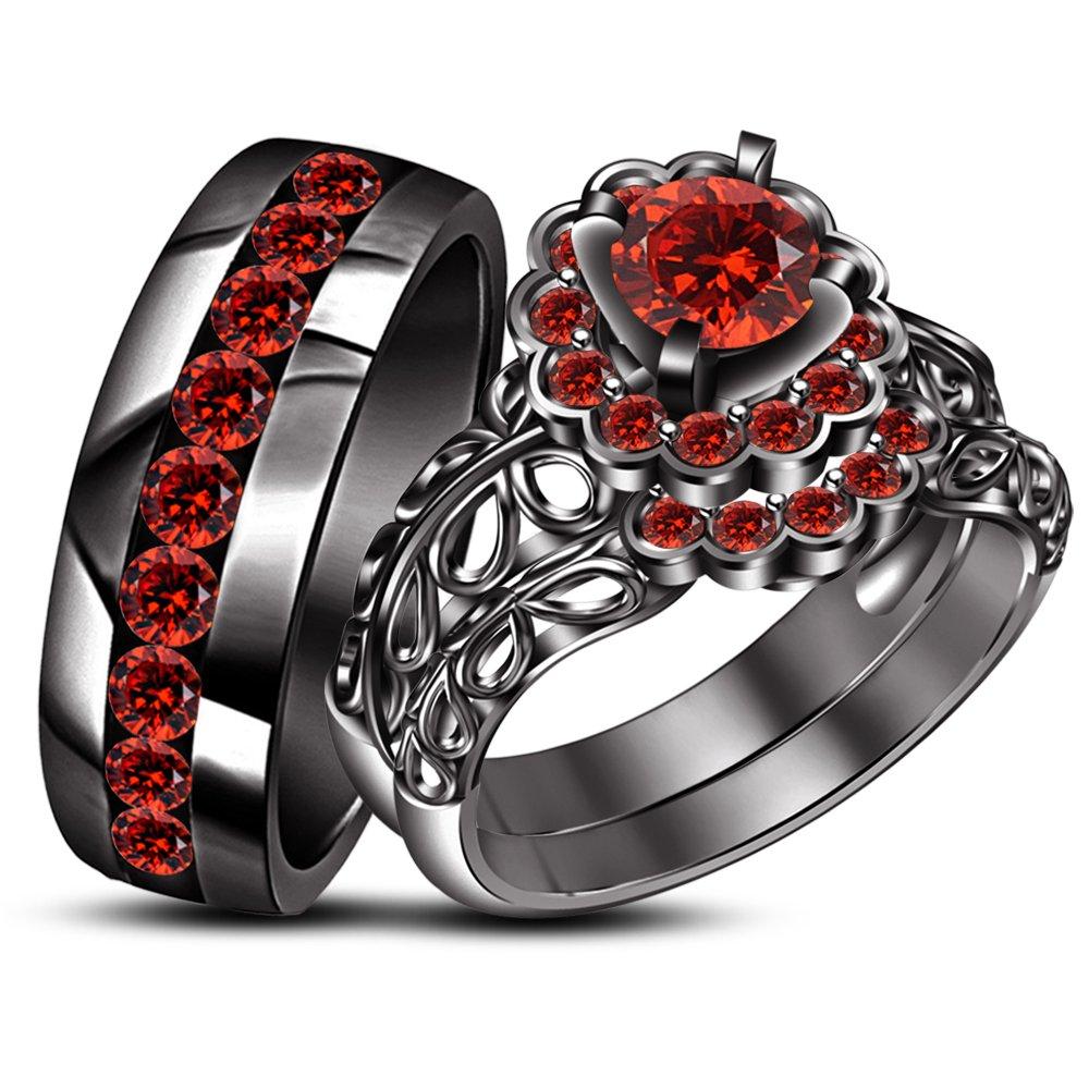TVS-JEWELS Gemstone His & Hers Trio Set Engagement Ring Wedding Band 925 Silver Black Rhodium Plated (red garnet)