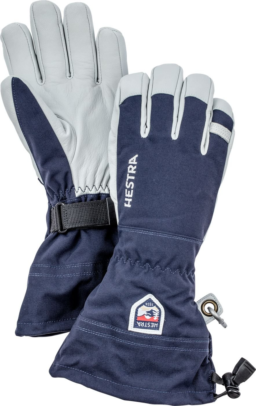 Hestra Ski Gloves: Army Leather Heli Leather Cold Weather Powder Gloves, Navy, 7