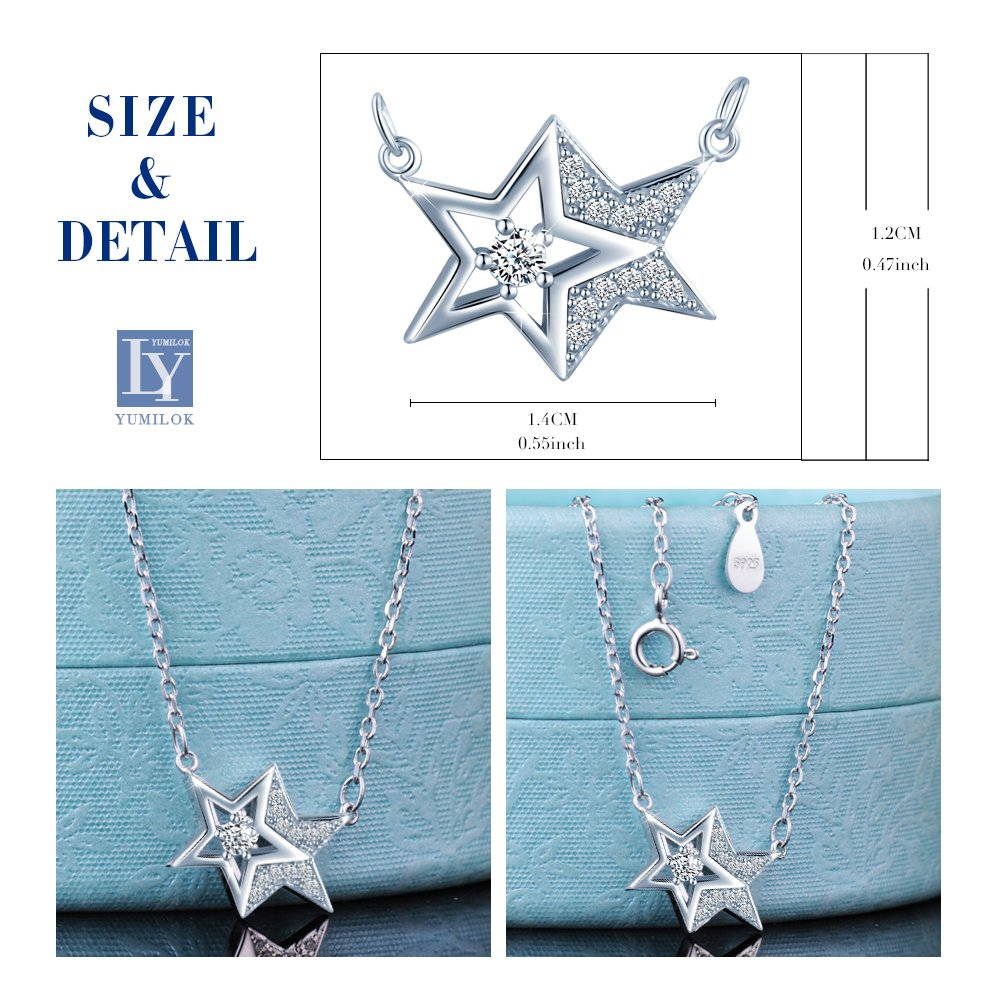 Yumilok 925 Sterling Silver Double Stars Pendant Necklaces for Women Girls