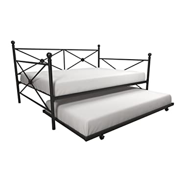 DHP Lina Full-Size Metal Daybed with Twin-Size Trundle, Black