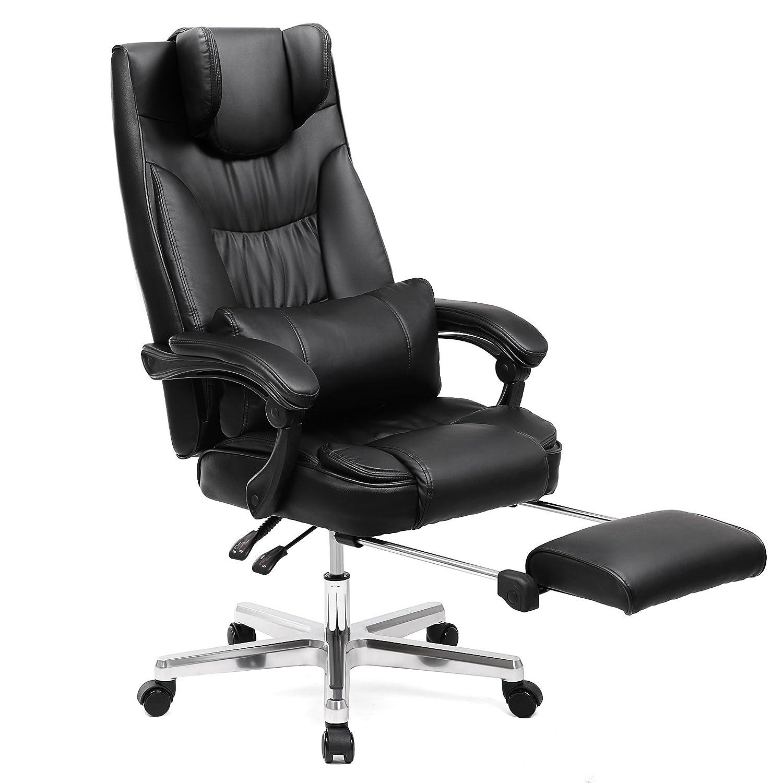 SONGMICS Ergonomischer Bürostuhl Executive Gaming Gaming Gaming Drehstuhl mit klappbar Kopfstütze und ausziehbares Fußstütze PU Leder extra groß schwarz, Original Design obg75buk 84d5db