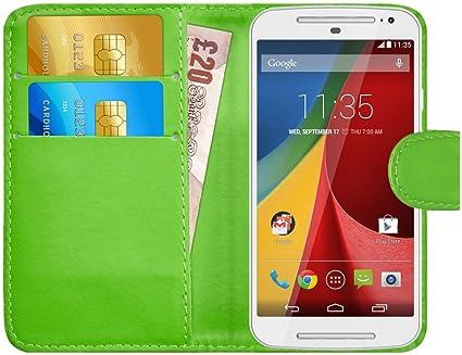 G-Shield Funda para Motorola Moto G2 (2ª Gen), Carcasa de Cuero con Ranuras para Tarjetas, Verde