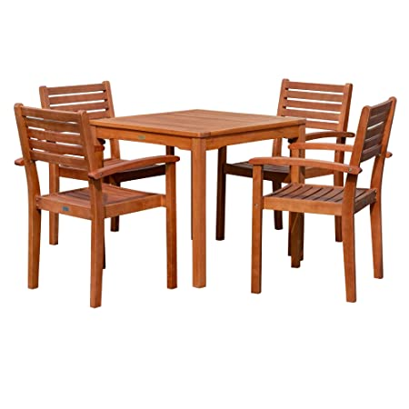 DTY Outdoor Living Leadville Square Dining Set, 5-Piece Eucalyptus Patio Furniture Set with Table and 4 Stacking Chairs, Natural Oil Finish