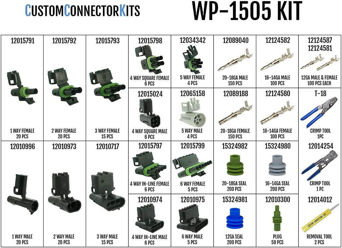 Sealed Weatherproof Automotive Electrical Connectors 20-12 Gauge 1505 Piece Kit With 12014254 and T-18 Crimp Tools Delphi Weather Pack Pro Kit WP-1505 With 2 Crimp Tools
