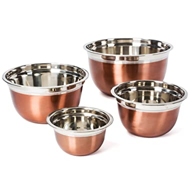 Stainless Steel Mixing Bowls Set - Rose Gold Stackable Nesting Bowls - Polished Matte Finish - Set of 4 by Colleta Home