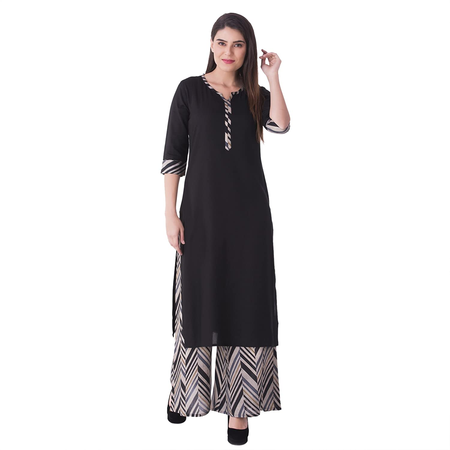 d1f98c50e2 KHUSHAL Women's Cotton Kurti with Palazzo Pant Set (Black, Small):  Amazon.in: Clothing & Accessories