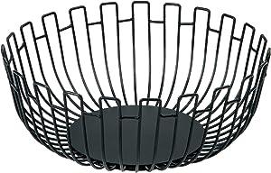 mossFlos Fruit Basket, Extra Large Fruit Bowl for Kitchen - Metal Wire Vegetable Bowl, Decorative Fruit Bowl for Table Centerpiece, Living Room, Pantry, Kitchen, Office - Black/27×11 cm