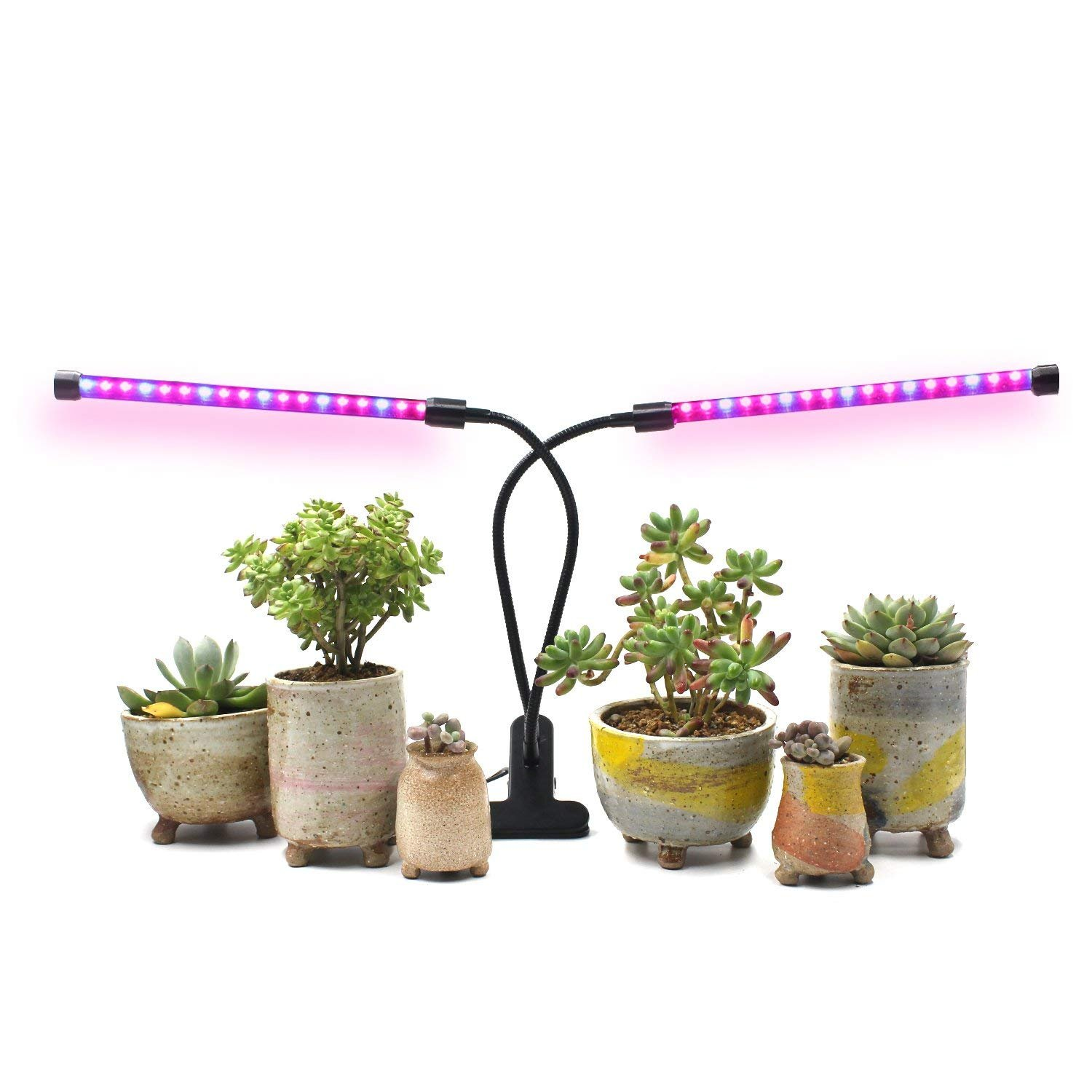 Grow Light for Indoor Plants, 2018 Latest Timing Function (Auto ON/OFF) with 36 LED (18W) Dual Head, Adjustable Flexible 360° Gooseneck, 3 Working Modes, 5 Dimmable Levels for Hydroponics Greenhouse Gardening Seeding Growing, Germination & Flowering E
