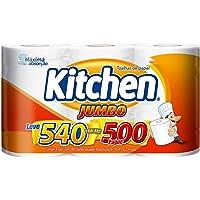 Papel Toalha Kitchen Jumbo Folha Dupla - Pack com 3 rolos de 180 unidades de 19x22 cm cada