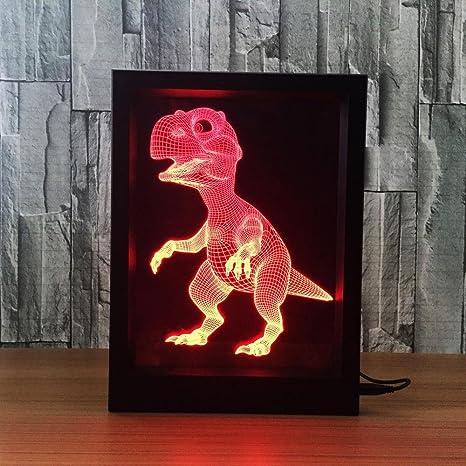 Lozse lámpara 3D de ilusión portaretrato dinosaurio 7 Color Control remoto Touch luz nocturna pequeña led