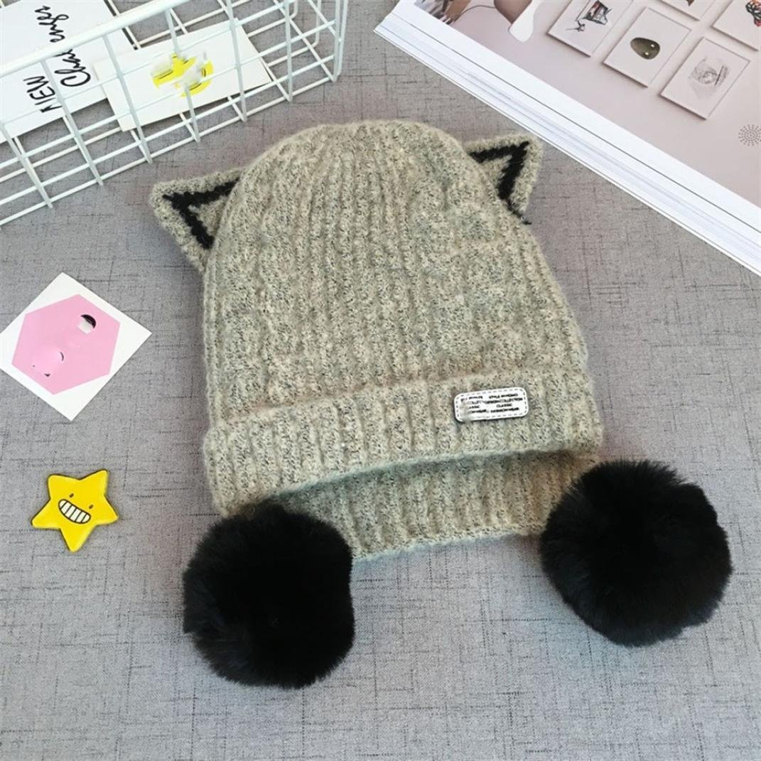 Digood Suit for 2-4 Years Old Kids Boys Girls Cartoon Big Ball Warm Winter Warm Knitted Beanie Hat