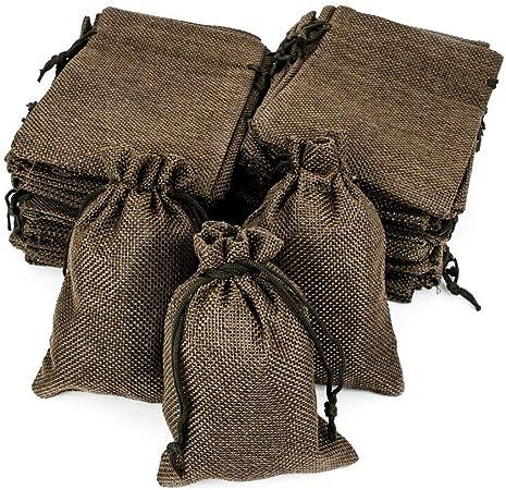 Image ofRuby - 50 bolsitas saco de yute 9,5 cm x 13,5 cm, bolsas de regalo, bolsitas de tela bolsas yute para joyas, bolsas de arpillera con cordón, saco navidad, saco carbón, bolsitas regalos (Marrón Oscuro)