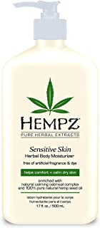 product image for Hempz Sensitive Skin Herbal Body Moisturizer with Oatmeal, Shea Butter for Women and Men, Premium, Soothing Body Lotion with Hemp Seed, Cocoa Seed, Mango Seed for Dry Skin, 17 Fl Oz