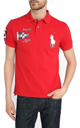 3b0ca0dd7335 Ralph Lauren Men s Polo Shirt Big Pony w Flag Logo Custom Fit (S ...