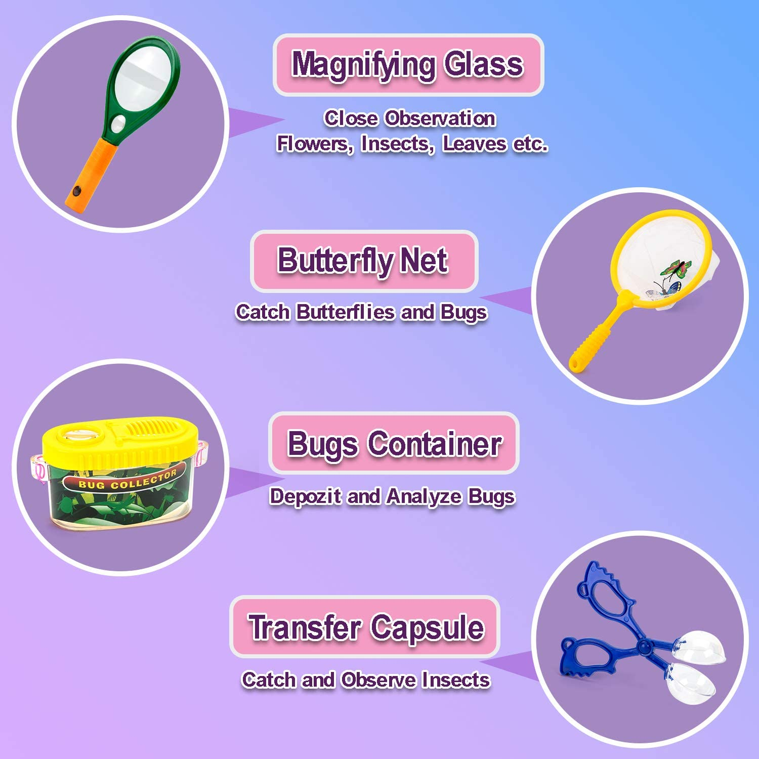 Butterfly Net EFO SHM Explorer Kit Toys Kids Bug Catcher Binoculars Set with Compass Outdoor Educational Kit Magnifying Glass Hat and Backpack for 3-10 Years Old Boys Girls