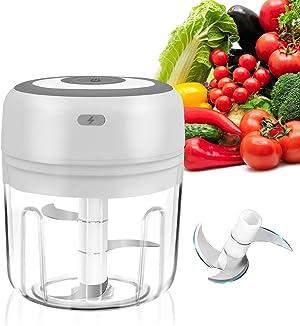 SUNMCCN Electric Garlic Chopper, Portable Mini Food Chopper, USB Rechargeable Waterproof Mini Food Processor For Garlic, Vegetable, Fruit, Meat, Baby Food(8.5 oz)