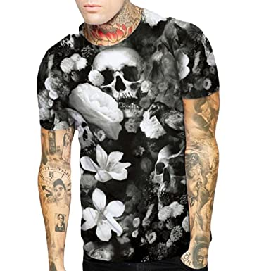 40bb86930 Amazon.com: WYTong New Arrival Mens 3D Skull Flower Printed Tees Shirt  Short Sleeve Summer T-Shirt: Clothing