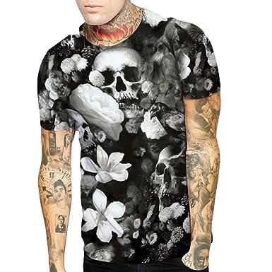 d2936b684f Amazon.com: WYTong Mens 3D Skull Flower Printed Tees Shirt Short Sleeve  Summer T-Shirt: Clothing