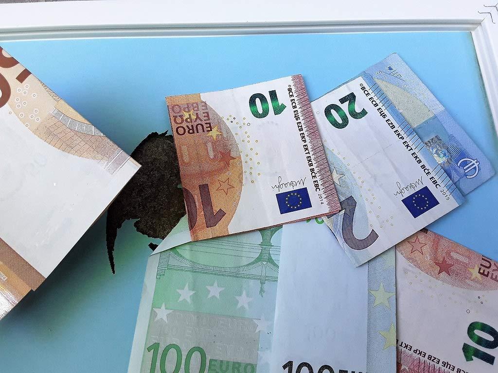Geldgeschenk Weltkugel im Bilderrahmen, Hochzeitsgeschenk ...