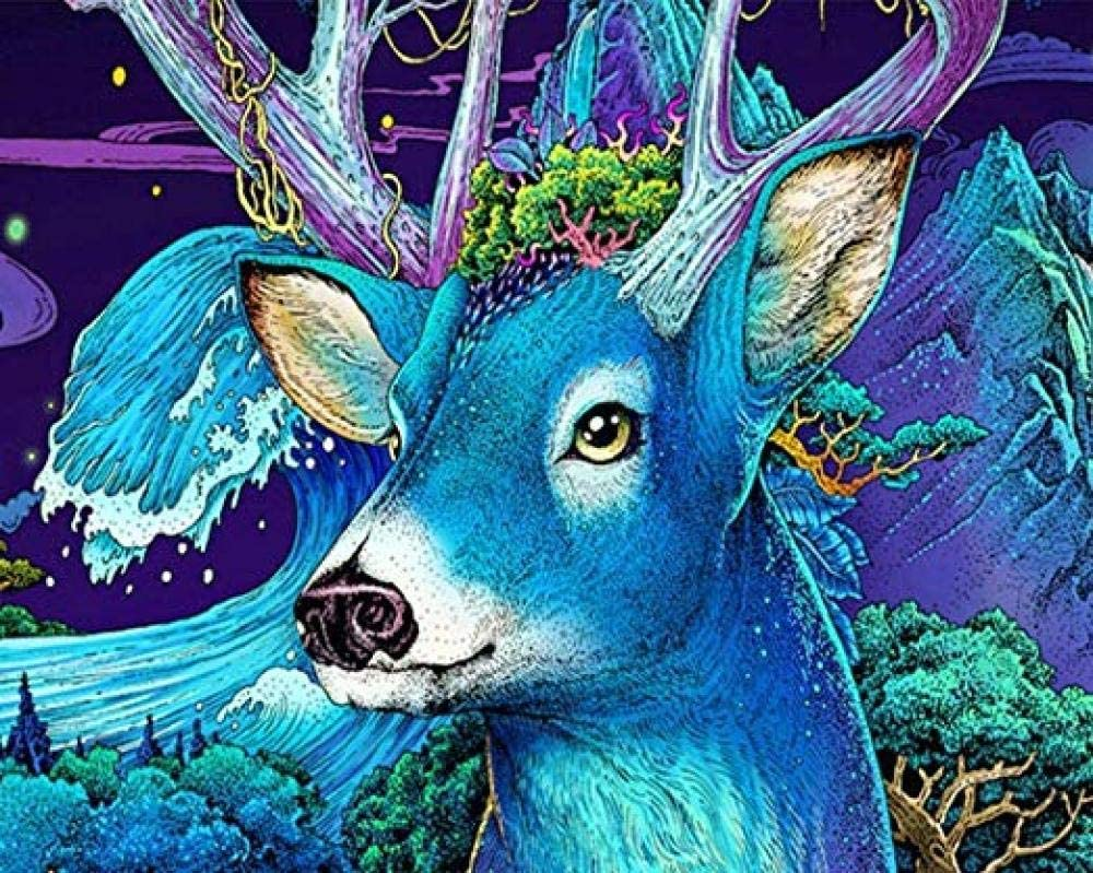 Without Framed Kpdar Paint by Numbers Kits for Adults and Kids Blue Animal Deer At Night Diy Oil Painting Digital Canvas Wall Art Home Decoration 40X50Cm//15.80X 19.70 Inch